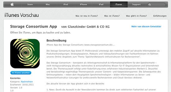 Die Storage Consortium App bei iTunes